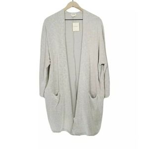 DONNI Ribbed Sweater Cardigan Beige Gray One Size